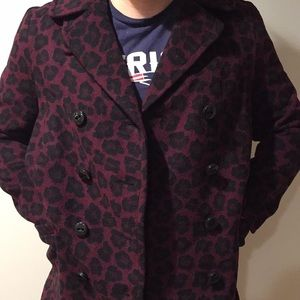 Coach Jackets & Coats - 🐆 COACH Cranberry and black leopard print 🐆